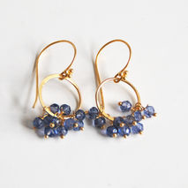 Iolite Quartz Hoop Earrings- Iolite Cluster Dangle Drop Earrings
