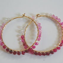 July Birthstone Ruby hoop Earrings -Genuine Shaded Ruby and  Gol