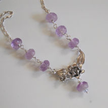 Gemstone Amethyst Necklace With flower connector - sterling silv