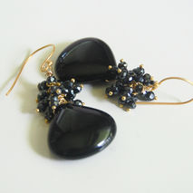 Black Onyx - Black Spinel Cluster  Dangle Drop Earrings