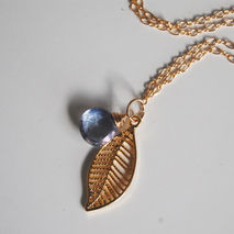 Blue Mystic Quartz and leaf charm Necklace -Mother's Day Necklac