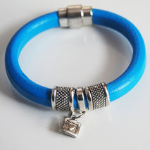 Turquoise Licorice Leather Bracelet-Bangle bracelet- charm Brace