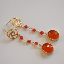 Bezel setting glass Fire Opal fancy drop And orange Carnelian Da