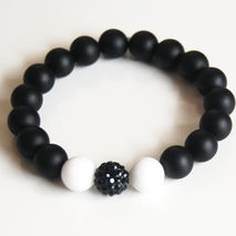 Matte Black Onyx And White Agate Beaded Bracelet - Stretch Brace