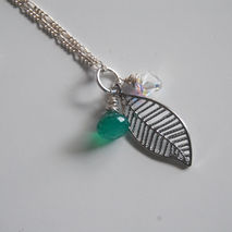 Emerald green quartz, swarovski crystal and leaf necklace with s