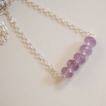 Gemstone Amethyst Necklace - sterling silver Necklace- Beaded Ne