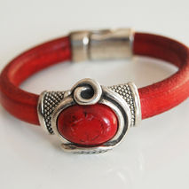 Red Licorice Leather Bracelet-Bangle bracelet- Red stone charm B