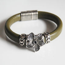 Olive Green Licorice Leather Bracelet-Bangle bracelet- Flower  c