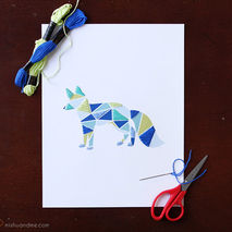 Paper Embroidered Geometric Fox - 8.5x11in Print