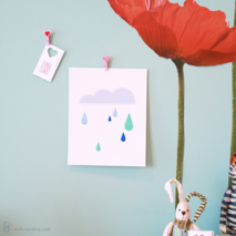 Paper Embroidered Raindrops and Cloud Print - 8 x 10 in