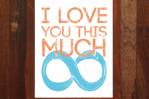 I Love You This Much - 8x10 print - Mint & Coral