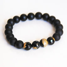 Matte Black Onyx and Aga Bracelet