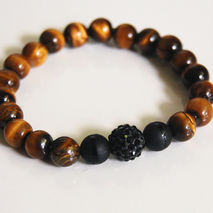 Men's Bracelets - Men's Jewelry - Men's Tiger Eye and Matte Blac