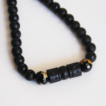 Men's Necklace - Men's Jewelry - Matte black Onyx - Agate -Wood