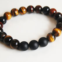 Men's Bracelets - Men's Jewelry - Men's Tiger Eye  and Matte Bla