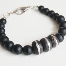 Men's Bracelets - Men's Jewelry - Men's Matte black Onyx and Afr