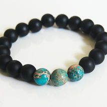Men's Bracelets - Men's Jewelry - Men's Matte Black Onyx -Blue E