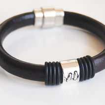 Men's Dark brown Licorice Greek Leather Bracelets - leather Brac