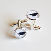 Men's Cufflinks - Black White Bird Silhoutte cufflinks -Bird on