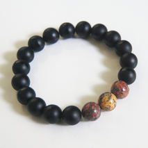 Men's Bracelets -Matte Black Onyx And Leopardskin Jasper  Bracel
