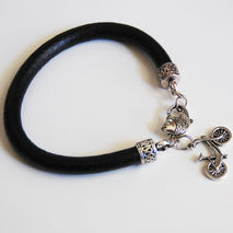 Men's leather Bracelet- Black Leather Bracelet with charm -  Men