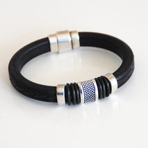 Men's Black Embossed  Licorice Greek Leather Bracelets - leather