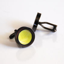 Tennis Ball Cufflinks- Men's Cuff links,Men's jewelry-Gunmetal C