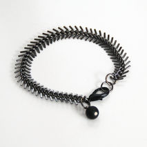 Men's Bracelet - Men's Jewelry - Men's Black Fish Bone Chain Bra