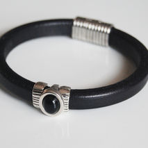 Men's Black Licorice Leather Bracelets - leather Bracelets- Mens