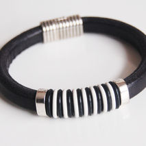 Men's Black And White Licorice Greek Leather Bracelets - leather