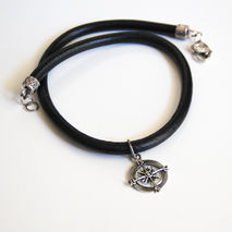 Men's Leather Necklace- Black  Leather Necklace with Compas char