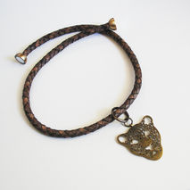 Brown Braided Leather Necklace with Tiger Head  charm - Men's Ne