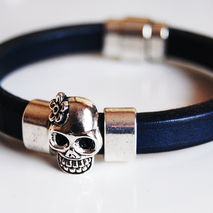Men's Navy Blue Licorice Leather Bracelets - Skeleton Bracelets-