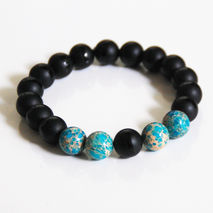 Men's Black Bracelets - Men's Jewelry -Men's Matte Black Onyx an