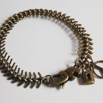 Men's Bracelet - Men's Jewelry - Men's Antique Brass Fish Bone B
