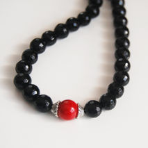 Men's Necklace- Men's Jewelry - Men's BlackOnyx  and Red Coral