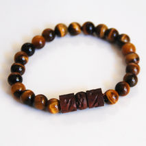 Men's Bracelets - Men's Jewelry - Men's Tiger Eye and Curved Woo
