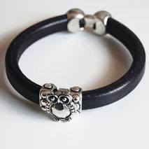 Men's Black Licorice Greek  Leather Bracelets - leather Bracelet