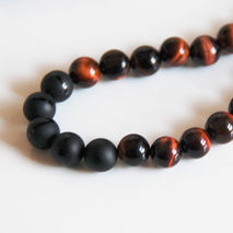 Men's Red Tiger Eye And Black Onyx Necklace- - Men's Necklace  -