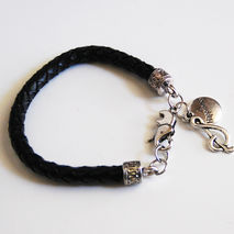 Black Braided Leather Bracelet with charm - Men's leather Bracel