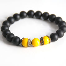 Men's Bracelets -Matte Black Onyx And yellow Bracelets- Unisex b