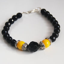 Men's Bracelets - Men's Jewelry - Men's Black Onyx With Yellow