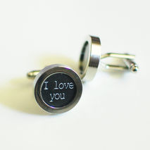 Men's Cuff links - Men's jewelry-- 'I  Love You ' Cufflinks-Phot