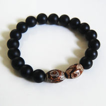 Men's Bracelets - Men's Jewelry - Men's Matte black Onyx  With R