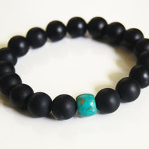 Men's Bracelets - Men's Jewelry - Men's Matte Black Onyx and Tur