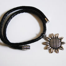 Black Braided Leather Necklace with Sunflower charm - Men's Neck