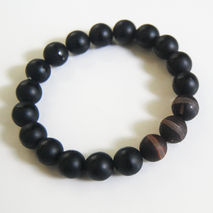 Men's Bracelets  -Matte Black Onyx And Matte Agate  Bracelets- U