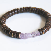 Men's Bracelet- Men's Jewelry - Men's Coconut Shell And Amethyst