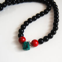 Men's Necklace- Men's Jewelry - Men's Black Onyx Necklace- Beade