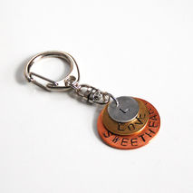 Men's Keychain- Mix Metal keychain- Men's Accessories- Hand Stam